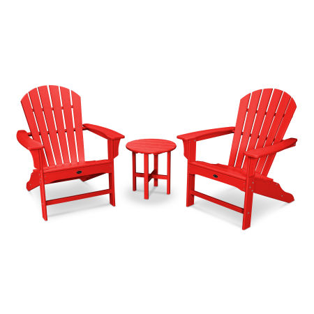 Yacht Club Shellback 3-Piece Adirondack Set in Sunset Red