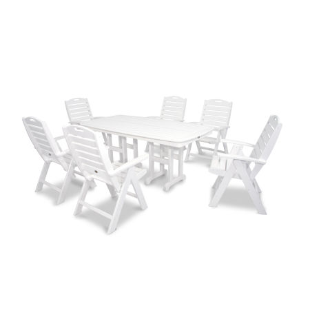 Yacht Club Highback 7-Piece Dining Set in Classic White