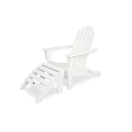 Cape Cod 2-Piece Folding Adirondack Seating Set in Classic White