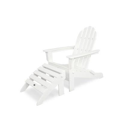 Cape Cod 2-Piece Folding Adirondack Seating Set in Classic White