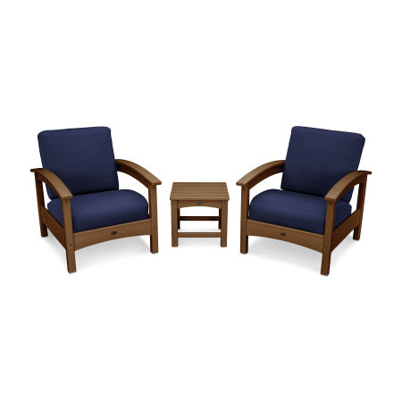 Rockport Club 3 Piece Deep Seating Conversation Set in Tree House / Navy