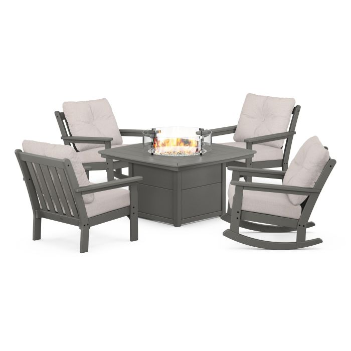 Vineyard 5-Piece Deep Seating Rocking Chair Conversation Set with Fire Pit Table