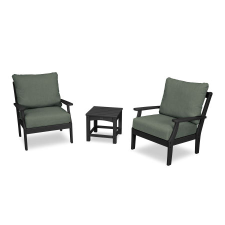 Yacht Club 3-Piece Deep Seating Set in Charcoal Black / Cast Sage