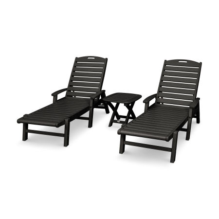 Yacht Club 3-Piece Chaise Set in Charcoal Black
