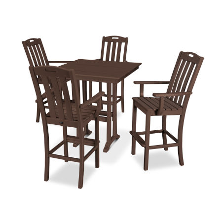Yacht Club 5-Piece Farmhouse Arm Chair Bar Set in Vintage Lantern