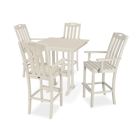 Yacht Club 5-Piece Farmhouse Trestle Arm Chair Bar Set