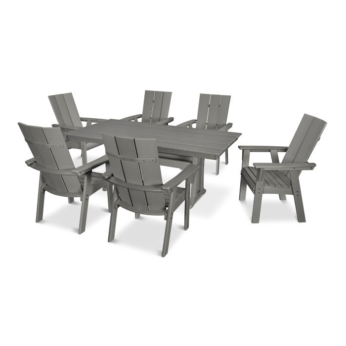 Modern Curveback Adirondack 7-Piece Farmhouse Trestle Dining Set