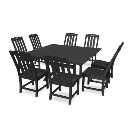 Yacht Club 9-Piece Farmhouse Side Chair Dining Set in Charcoal Black