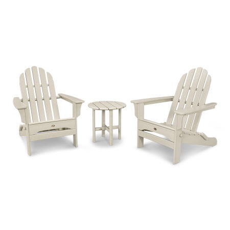 Cape Cod Folding Adirondack Set with Side Table in Sand Castle