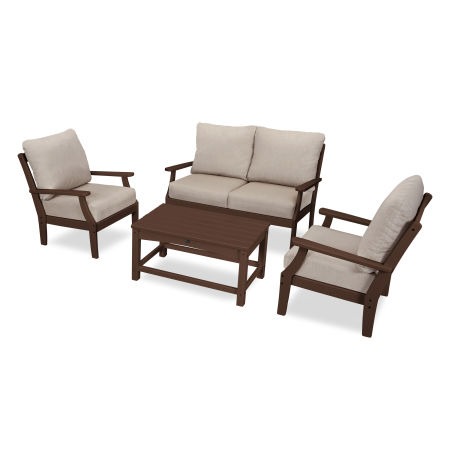 Yacht Club 4-Piece Deep Seating Chair Set in Vintage Lantern / Cast Ash