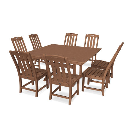 Yacht Club 9-Piece Farmhouse Side Chair Dining Set in Tree House