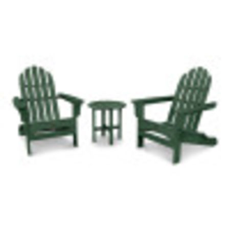 Cape Cod Folding Adirondack Set with Side Table in Rainforest Canopy