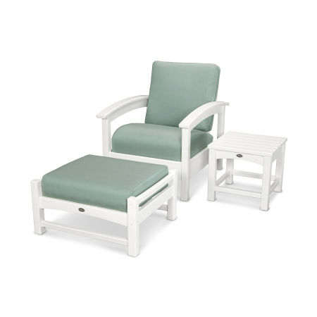 Rockport 3-Piece Deep Seating Set in Classic White / Spa