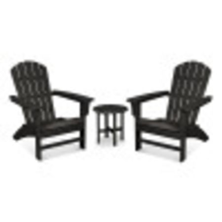 Yacht Club 3-Piece Adirondack Set in Charcoal Black