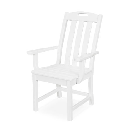 Yacht Club Dining Arm Chair in Classic White
