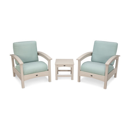 Rockport Club 3 Piece Deep Seating Conversation Set in Sand Castle / Spa
