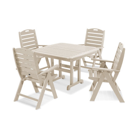 Yacht Club Highback 5-Piece Dining Set in Sand Castle