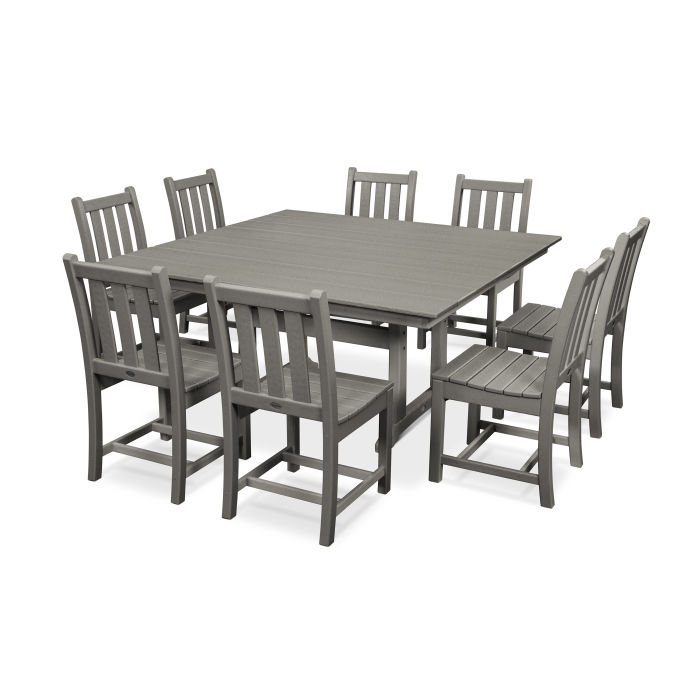 Traditional Garden 9-Piece Farmhouse Trestle Dining Set