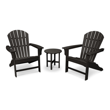 Yacht Club Shellback 3-Piece Adirondack Set in Charcoal Black