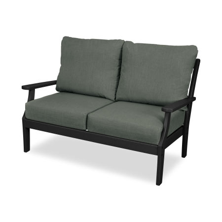Yacht Club Deep Seating Settee in Charcoal Black / Cast Sage