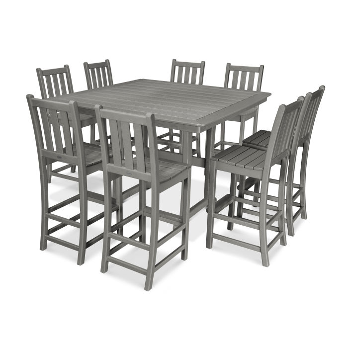 Traditional Garden 9-Piece Nautical Trestle Bar Set