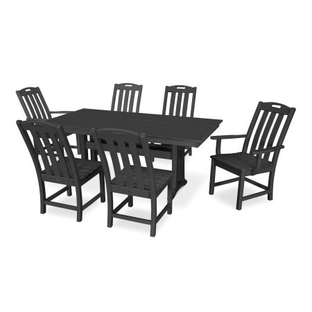 Yacht Club 7-Piece Farmhouse Dining Set in Charcoal Black