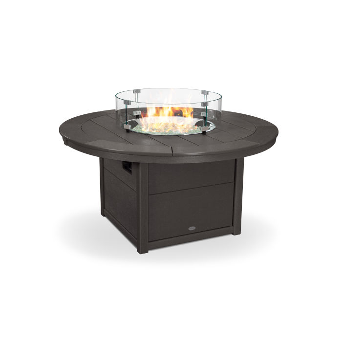 """Round 48"""" Fire Pit Table in Vintage Finish"""