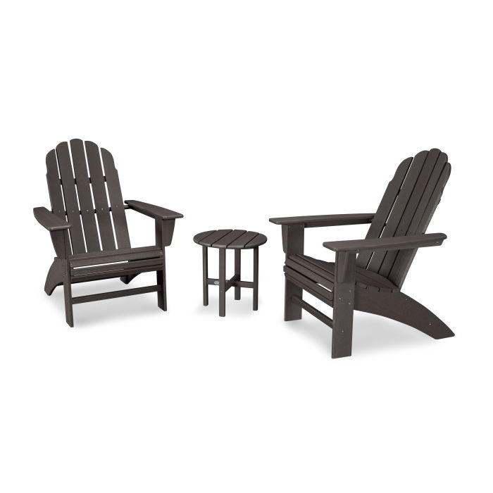 Vineyard 3-Piece Curveback Adirondack Set in Vintage Finish