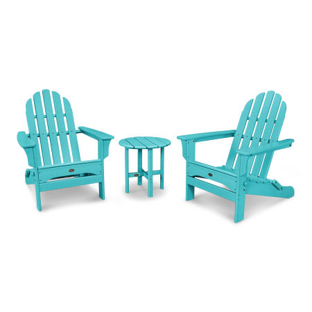 Cape Cod Folding Adirondack Set with Side Table in Aruba