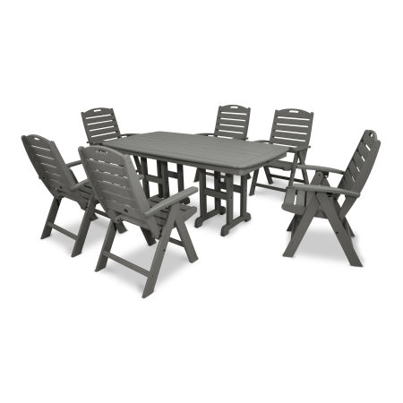 Yacht Club Highback 7-Piece Dining Set in Stepping Stone