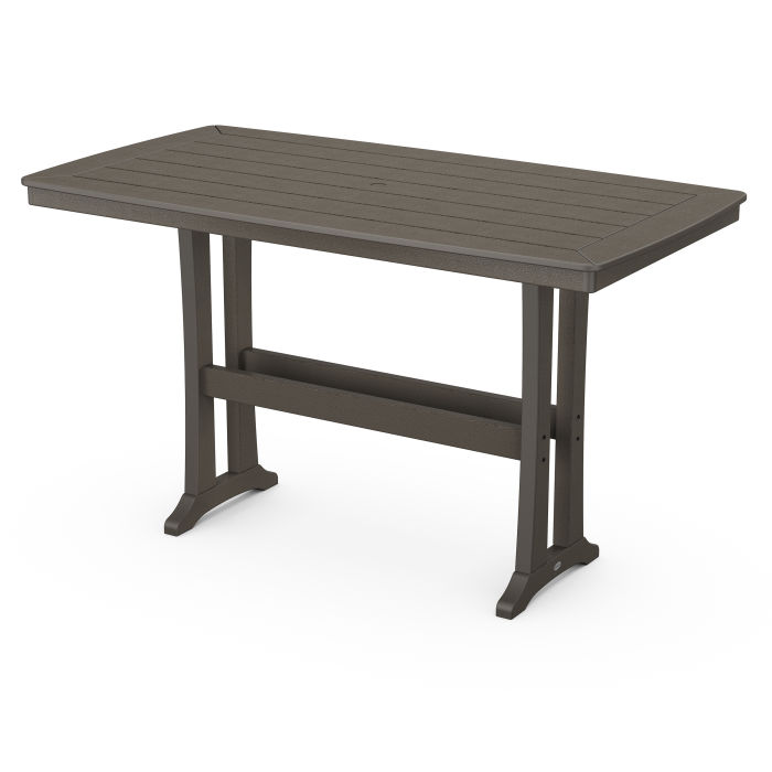 """Nautical Trestle 38"""" x 73"""" Bar Table in Vintage Finish"""