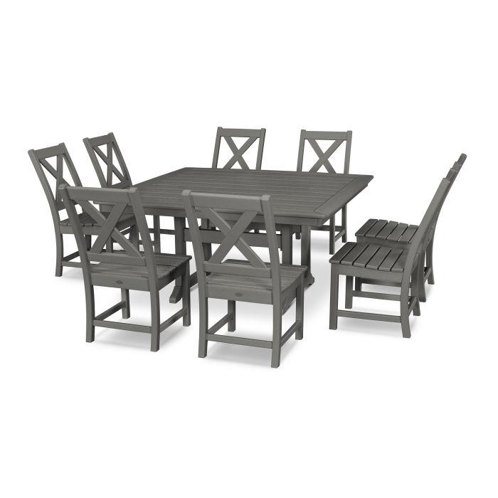 Braxton 9-Piece Nautical Trestle Dining Set