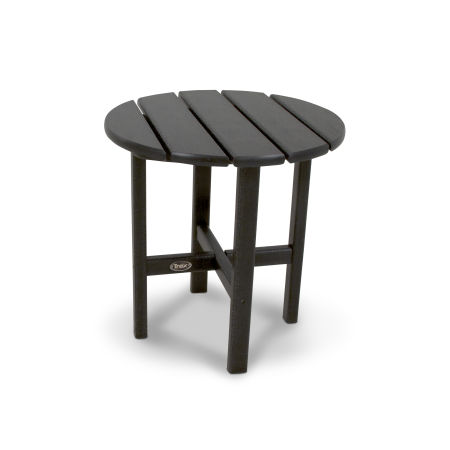 "Cape Cod Round 18"" Side Table in Charcoal Black"