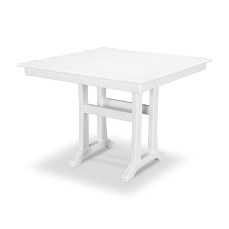 "Farmhouse Trestle 37"" Dining Table in Classic White"