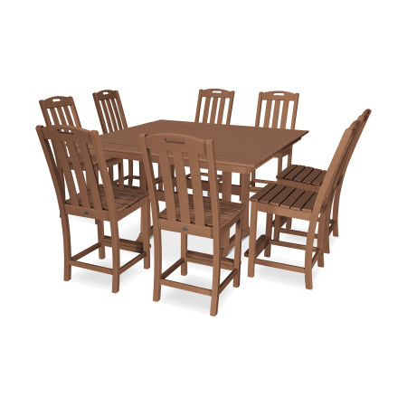 Yacht Club 9-Piece Farmhouse Side Chair Counter Set in Tree House