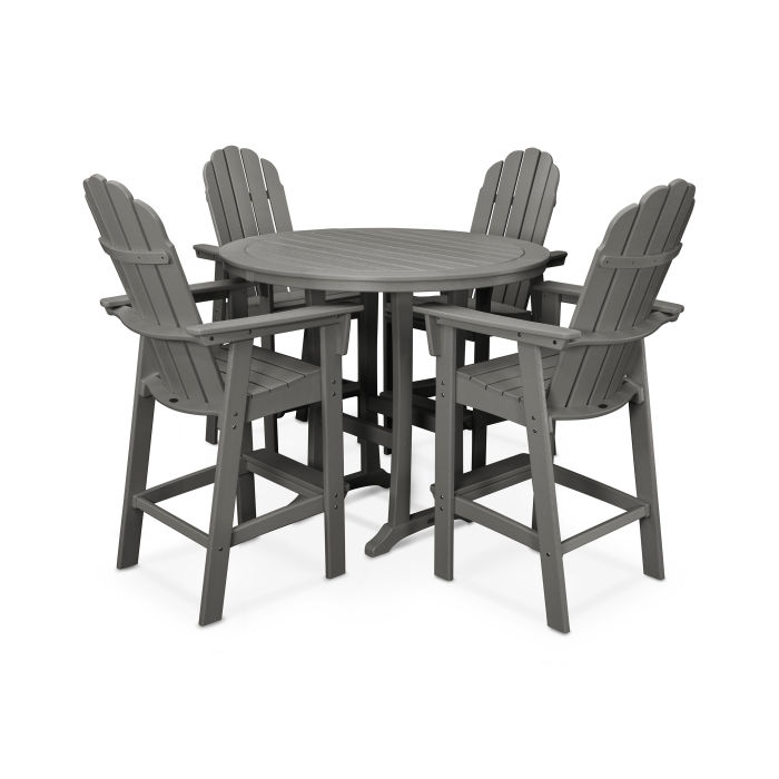 Vineyard Curveback Adirondack 5-Piece Nautical Trestle Bar Set
