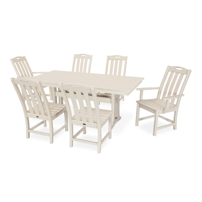 Yacht Club 7-Piece Farmhouse Trestle Dining Set