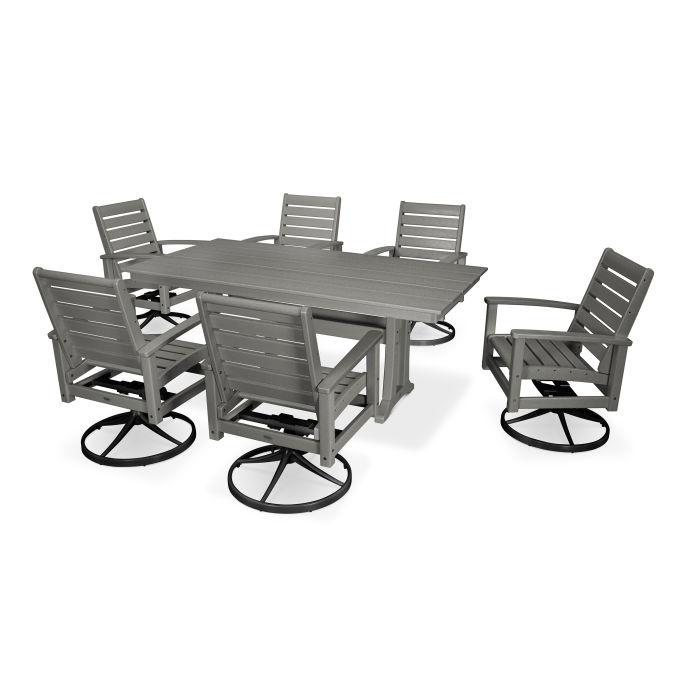 7 Piece Signature Swivel Rocking Chair Dining Set