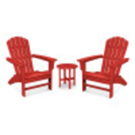 Yacht Club 3-Piece Adirondack Set in Sunset Red