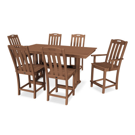 Yacht Club 7-Piece Farmhouse Counter Set in Tree House