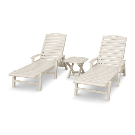 Yacht Club 3-Piece Chaise Set in Sand Castle