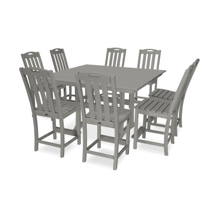 Yacht Club 9-Piece Farmhouse Side Chair Counter Set in Stepping Stone
