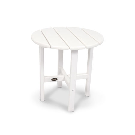 "Cape Cod Round 18"" Side Table in Classic White"