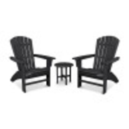 Yacht Club 3-Piece Curveback Adirondack Set in Charcoal Black