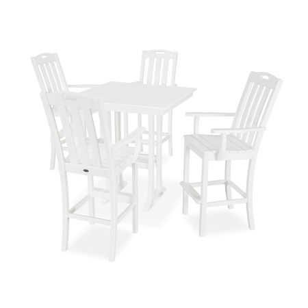 Yacht Club 5-Piece Farmhouse Arm Chair Bar Set in Classic White