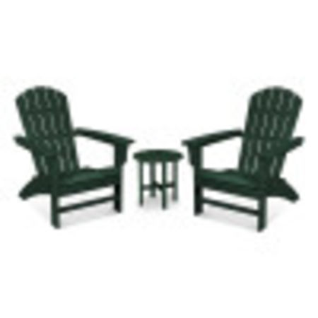 Yacht Club 3-Piece Adirondack Set in Rainforest Canopy