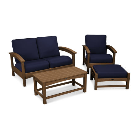 Rockport 4-Piece Deep Seating Conversation Group in Tree House / Navy
