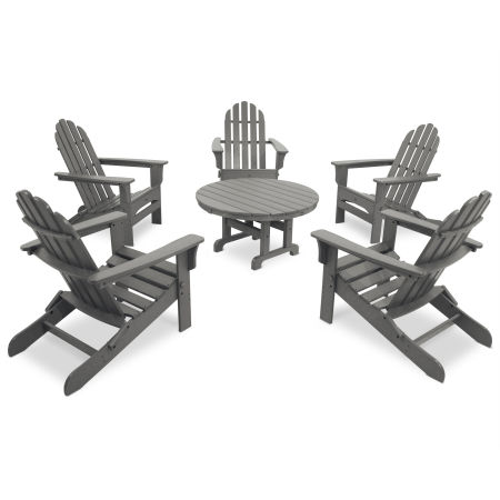 Cape Cod 6-Piece Folding Adirondack Conversation Set in Stepping Stone