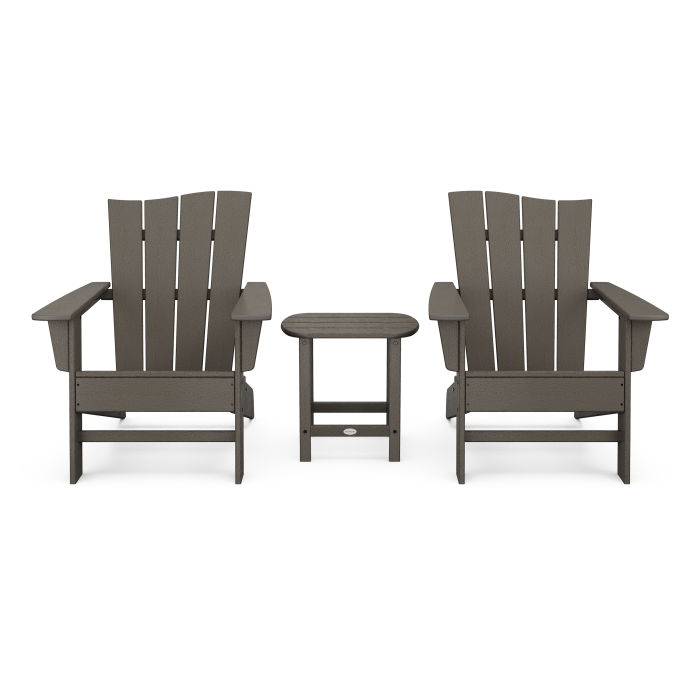 Wave 3-Piece Adirondack Chair Set in Vintage Finish