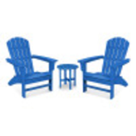 Yacht Club 3-Piece Adirondack Set in Pacific Blue